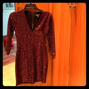 Express maroon/red sparkle fitted dress
